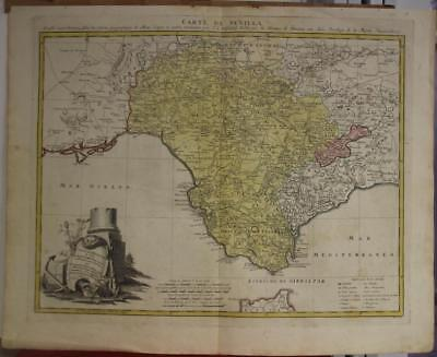 Sevilla Southern Spain Gibraltar 1781 Homann Heirs Antique Copper Engraved Map