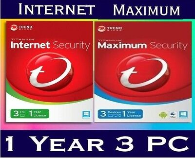 NEW Trend Micro Internet Maximum Security 2018 2019 1 - 3 Devices PC Mac Android