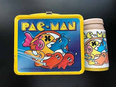 Vintage Aladdin PAC-MAN Arcade Game Metal Lunch Box w/ Thermos 1980