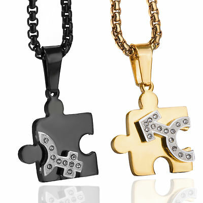 be535cf0df His/Hers Stainless Steel Necklace Love Puzzle Pieces Couple Pendants Chain  Set