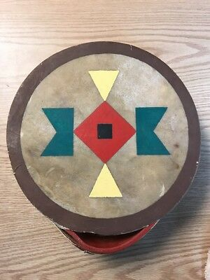 "Vintage Rawhide Native American Indian Hand Drum 12"" Hand Painted Geometric"