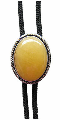 Original Vintage Silver Plated Handcraft Nature Topaz Jade Oval Wedding Bolo Tie