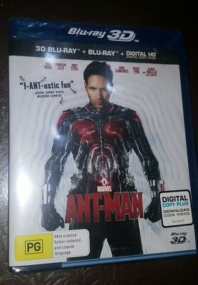 *Brand New & Sealed* Ant-Man 3D (2D + 3D Blu-ray) Region B AUS Marvel. Paul Rudd