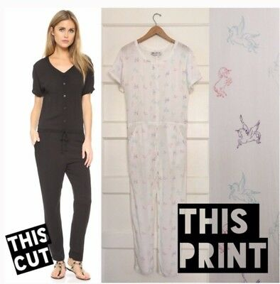 WILDFOX COUTURE White Travel FLYING UNICORN Pegasus Jumpsuit RARE S