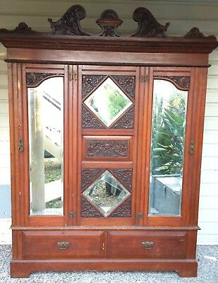 Antique bedroom cupboard with mirrors