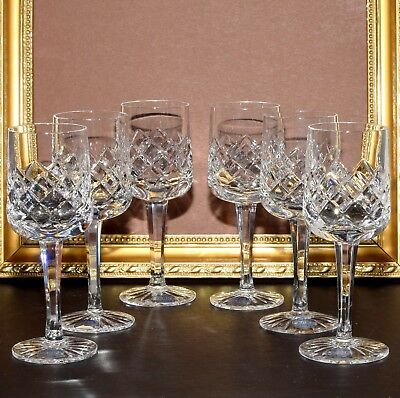 6 x Elegant Parka Lead Crystal Sherry Glasses Diamond Patt. Perfect!