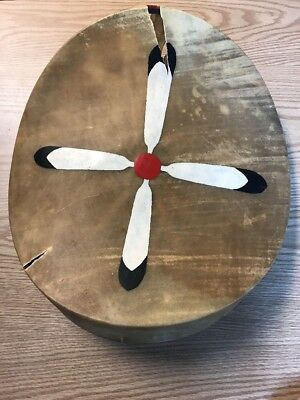 "Vintage Rawhide Native American Indian Hand Drum 16"" X 17"" Hand Painted Feathers"
