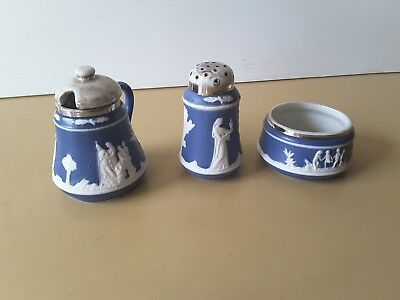 Antique GERMAN BISQUE BLUE WHITE RAISED FIGURES  cruet set