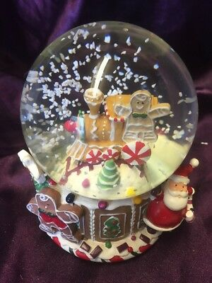 Christmas Musical Gingerbread Snowglobe Traditional Wind Up - Ex Display