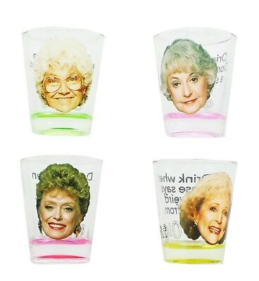 Golden Girls Shot Glasses, Set of 4 Perfect for the Golden Girls Drinking Game