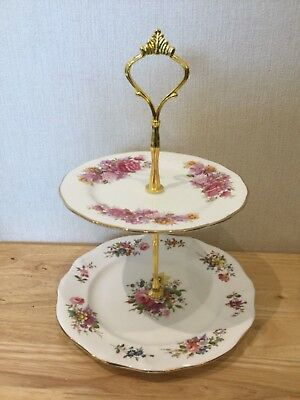 Cake Stand ~ small 2 tier mismatched vintage Cake Stand