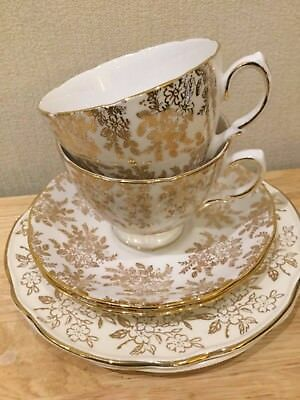 Teaset for two ~ mis-matched trios made by Royal Vale & Washington pottery