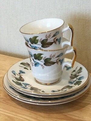Teaset for two ~ bone china trios, made in England