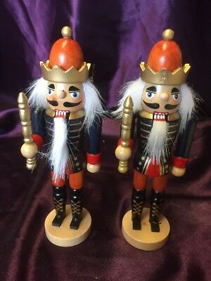2 X Christmas Nutcracker Soldier Wooden Decorations - 17cm Tall
