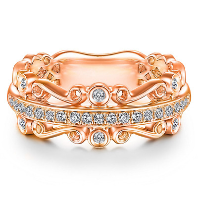 Fashion Women's Wedding Rings Rose Gold Filled Jewelry White Sapphire Size 6-10