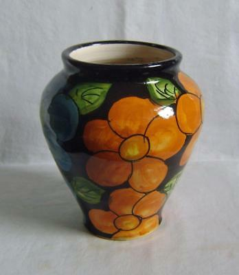 Vintage Vase Hand Thrown Faience, Earthenware: Bold Flower Decoration