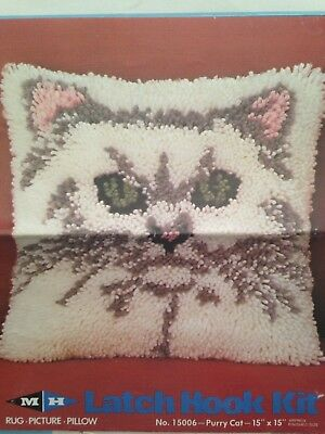 """Purry Cat Rug Picture Pillow 15"""" x 15"""" Latch Hook Kit #15006"""