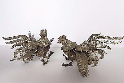 """Vintage Pair of Solid Brass Rooster Cock Fighters Sculpture Decor Figurines 8"""""""