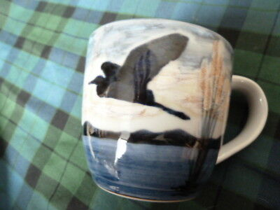 New Scottish Highland Stoneware Flying Heron Hand Painted Pottery Ltd Ed Of 80