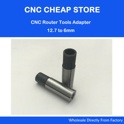12.7mm to 6mm New 2PC Engraving Bit CNC Router Tool Adapter 6mm Inner Diameter