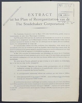 USA - The Studebaker Corp. - plan of reorganisation - 1935 - Dutch issue-