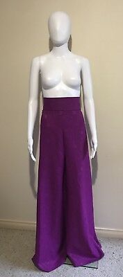 Vintage 70s Wide Leg High Waisted Purple Pants M 30inch