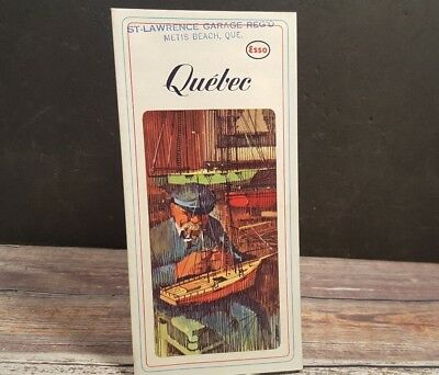1963 Vintage Road Highway Map ESSCO Quebec
