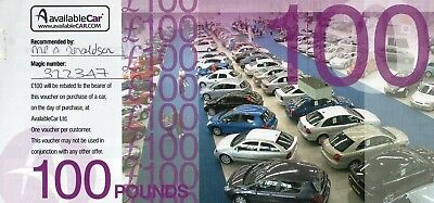 Available car £100 gift voucher. For ANY car no expiry date valid any branch