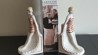 Wonderful Art Deco 1930's Style Pair Ceramic Female Swimmer Figures Bookends