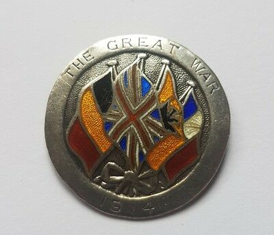 Genuine Vintage WW1 The Great War Pin Badge - Sterling Silver dated 31.12.14