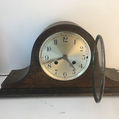 Antique, HAC Mantle Clock in Fantastic Oak Case. Working Order With Key.