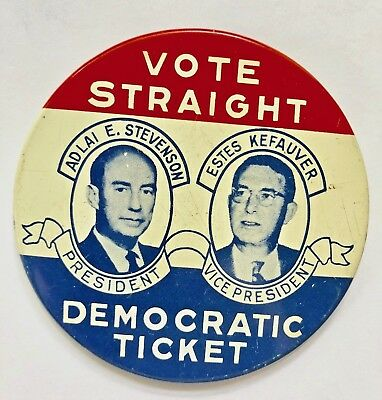 Stevenson Kefauver 1956 Jugate Political Advertising Campaign Pin-Back Button.