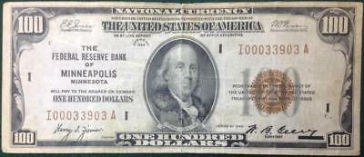 Series 1929 $100 Federal Reserve Bank of Minneapolis $100 National Currency Note