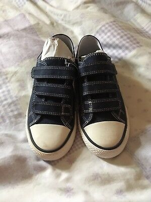 Next Boys Shoes Trainers 3 Strap Navy Blue Size 2 New With Tags