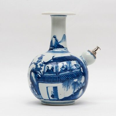 RARE CHINESE BLUE&WHITE EXPORT PORCELAIN KENDI EWER 18th or 19th C. silver mount