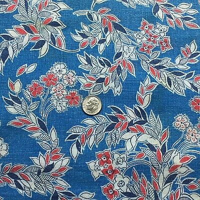 "Vintage Quarter Feed/Flour Sack Red, White, Navy Floral on Blue 21"" x 18"""