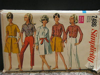 Vintage 1960's Simplicity Sewing Pattern #7486 Miss Skirt, Shirt, Pants Size 12