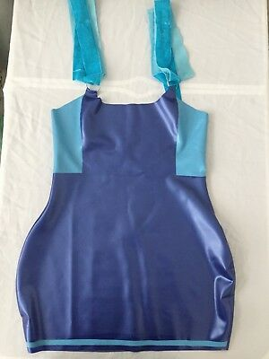 Latex Rubber Skirt Top Dress Fetish Pinup UK 12-14 Blue