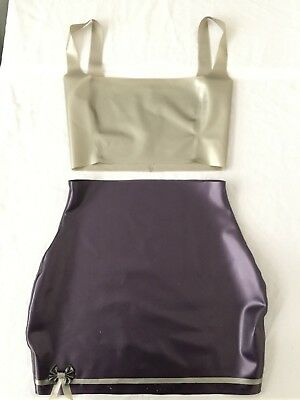 Latex Rubber Skirt Top Dress Fetish Pinup UK8 10 Silver Purple
