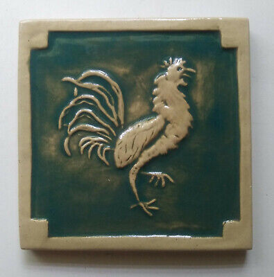 "Rooster tile  ""King of the Barnyard""  handcrafted stoneware"