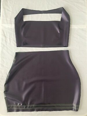 Latex Rubber Skirt Top Dress Fetish Pinup UK 14 16 Silver Purple