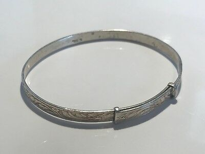 Childs Solid Silver Bangle Stunning Not Scrap Lot 626