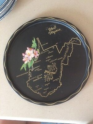 WEST VIRGINIA WV State SOUVENIR Black METAL TRAY MAP Rhododendron Retro
