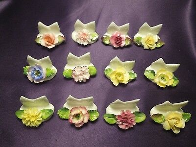 12 Bone China Coalport Flower Name Place Card Holders Made in England Vintage