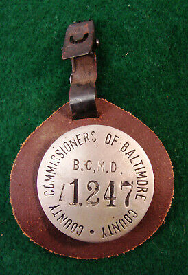 1920-30s Baltimore County Commissioners Badge & Leather Holder With Clip #1247