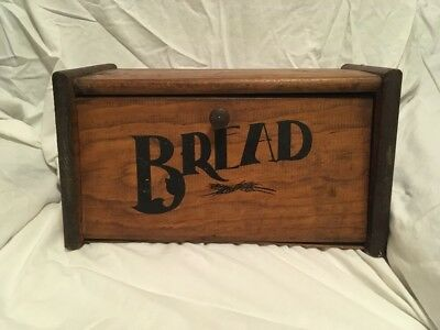 Vintage Solid Wood Wooden Bread Box Breadbox -large-Heavy Original Stencil/paint