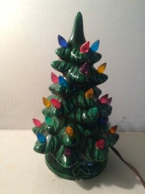 """Vintage 10"""" Ceramic Lighted Christmas Tree With Base"""