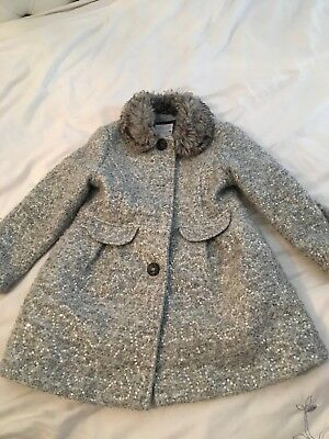 Girls Grey Sparkle Coat Age 5-6 Years