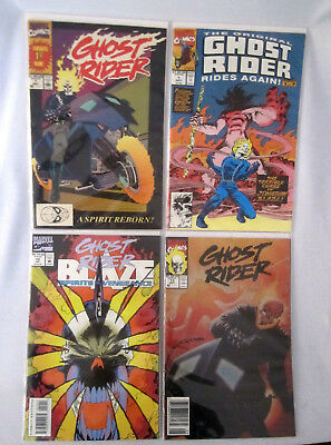 Lot Of 4 Early 90s GHOST RIDER Marvel Comic Books # 1, 1, 12, 13!