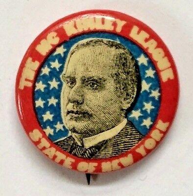 McKINLEY LEAGUE STATE OF NEW YORK POLITICAL ADVERTISING PIN-BACK BUTTON